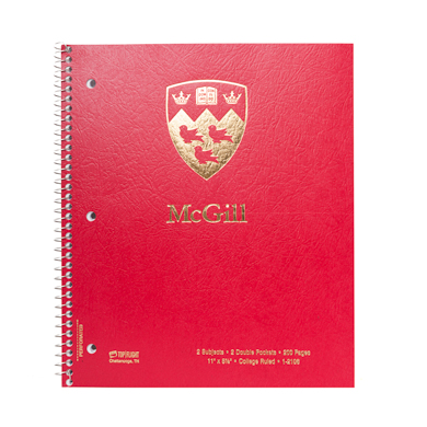 McGill University Spiral Notebook 2 Subjects Red