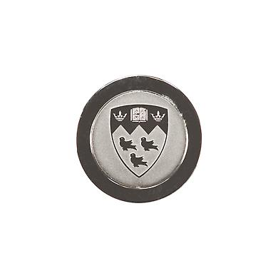 Finely crafted lapel pin, customized with precision-cut medallion featuring McGill crest.