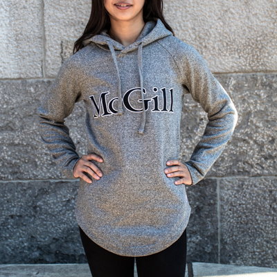HOODIE LADIES LONG SCOOP HEM SCHOLAR GRAPHITE-HEATHER