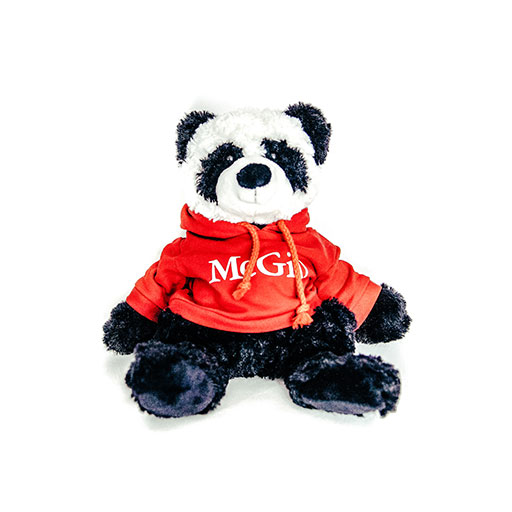 PLUSH PANDA CUDDLE BUDDIES RED HOODIE - BLACK/WHITE
