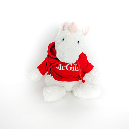 McGill Red Hoodie Cuddle Buddy Unicorn