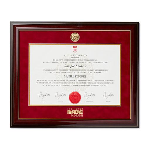 McGill Limited Edition Bicentennial Mahogany Diploma Frame
