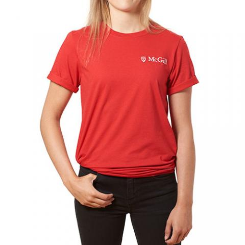 [McGill University Embroidered Tee][RED][M]