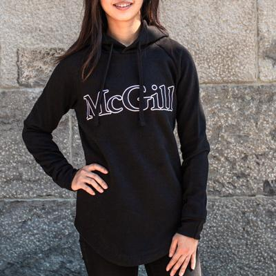 HOODIE LADIES LONG SCOOP HEM SCHOLAR BLACK
